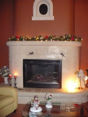The cozy fireplace